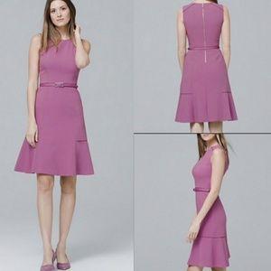 WHBM lavender purple sheath flutter dress
